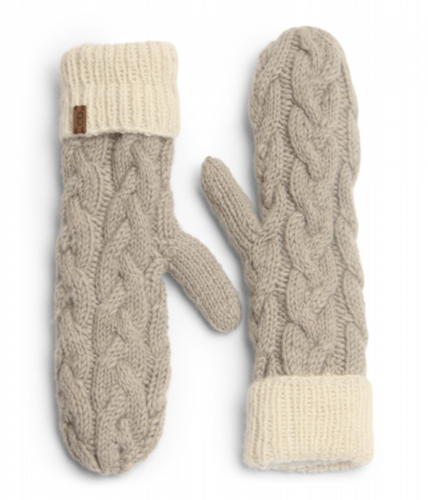 Wool Cable Knit Mittens  - Cloud Grey